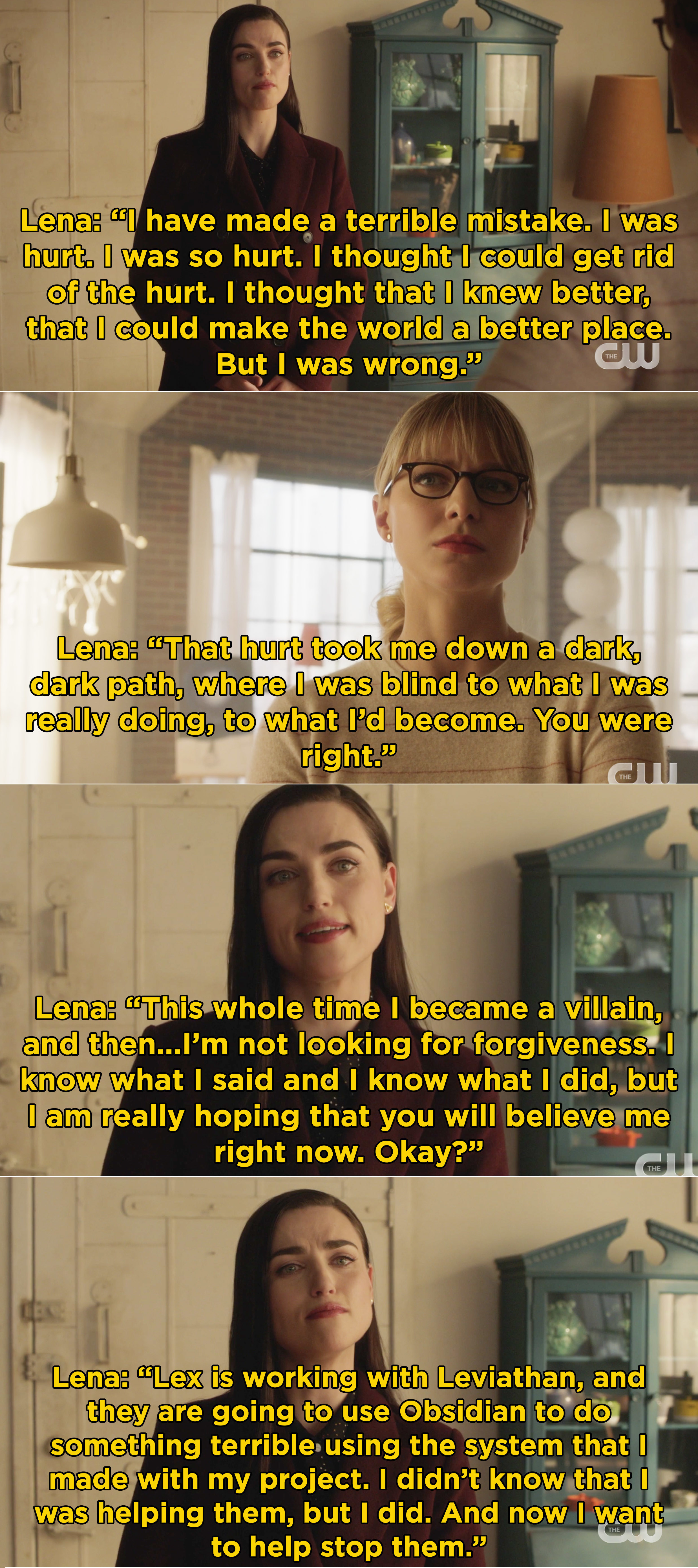 Lena telling Kara all about Lex's plans and saying that she wants to help stop him