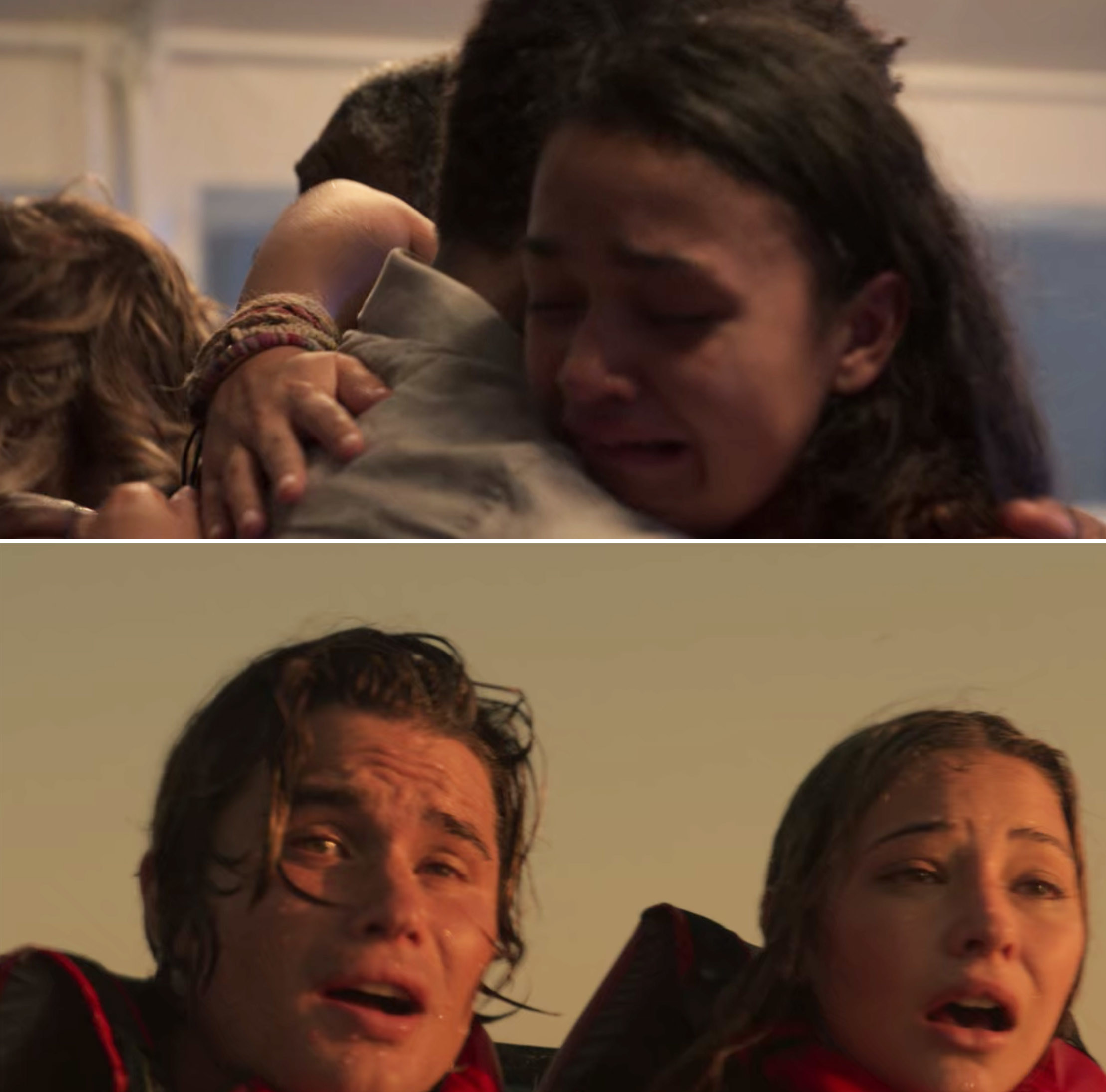 Kie crying in Pope's arms and John B and Sarah looking relieved after seeing a boat