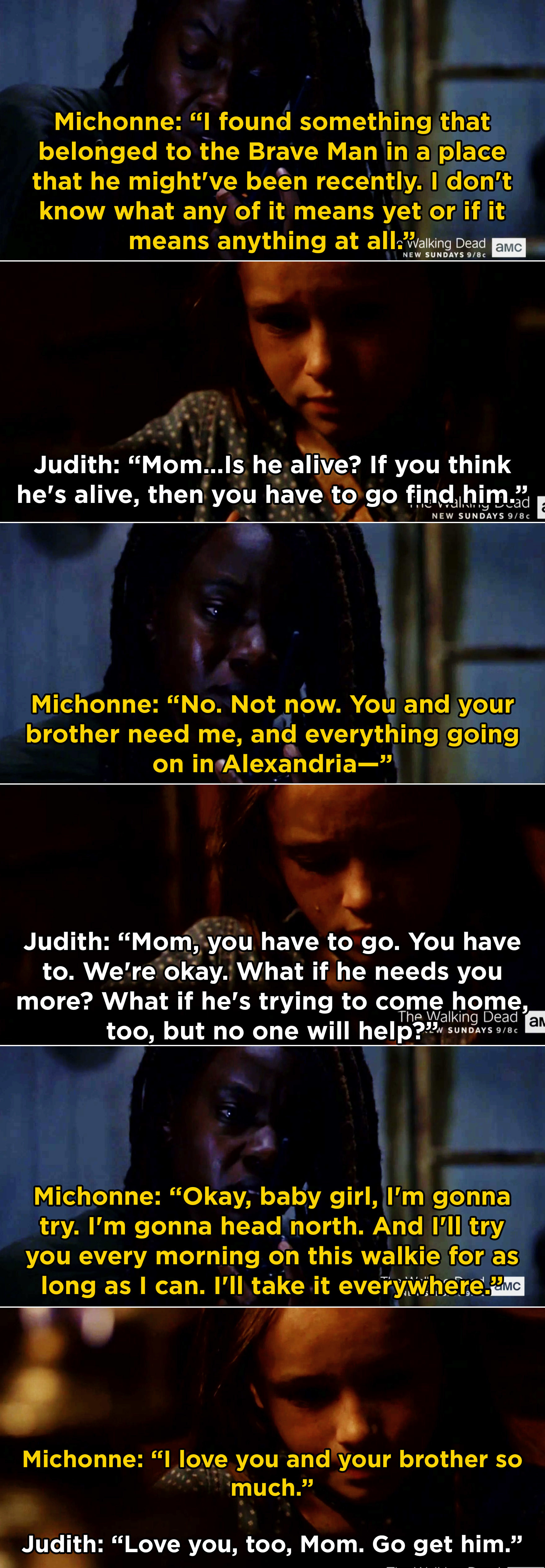 """Judith telling Michonne to go find the """"Brave Man"""" and bring him home"""