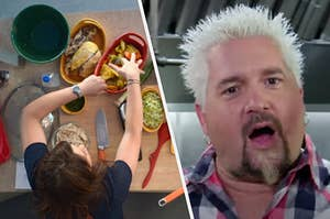 Rachel Ray is on the left cooking with Guy Fieri on the right looking shocked