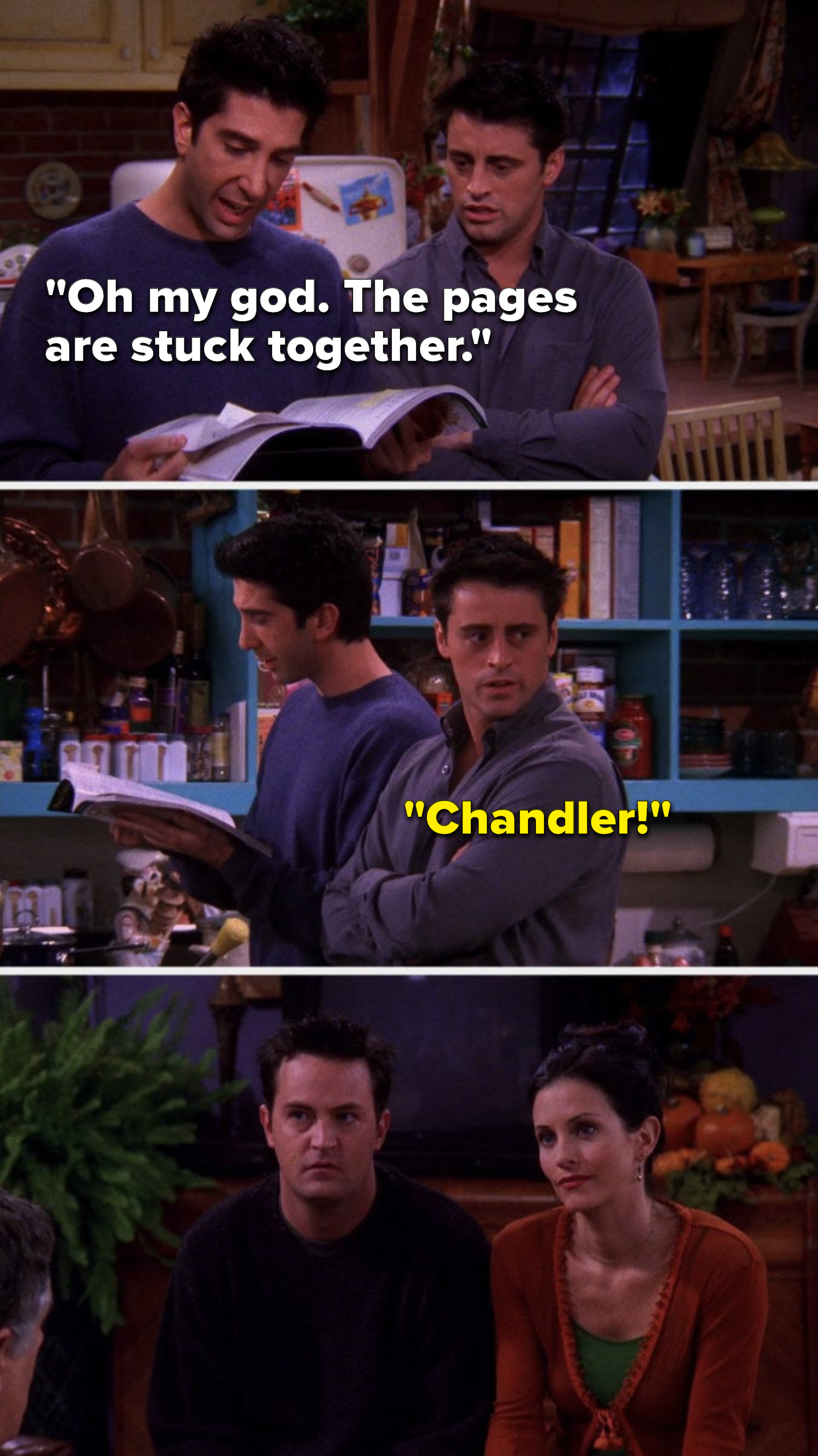 """Ross says, """"Oh my god, the pages are stuck together"""" and Joey yells, """"Chandler"""""""