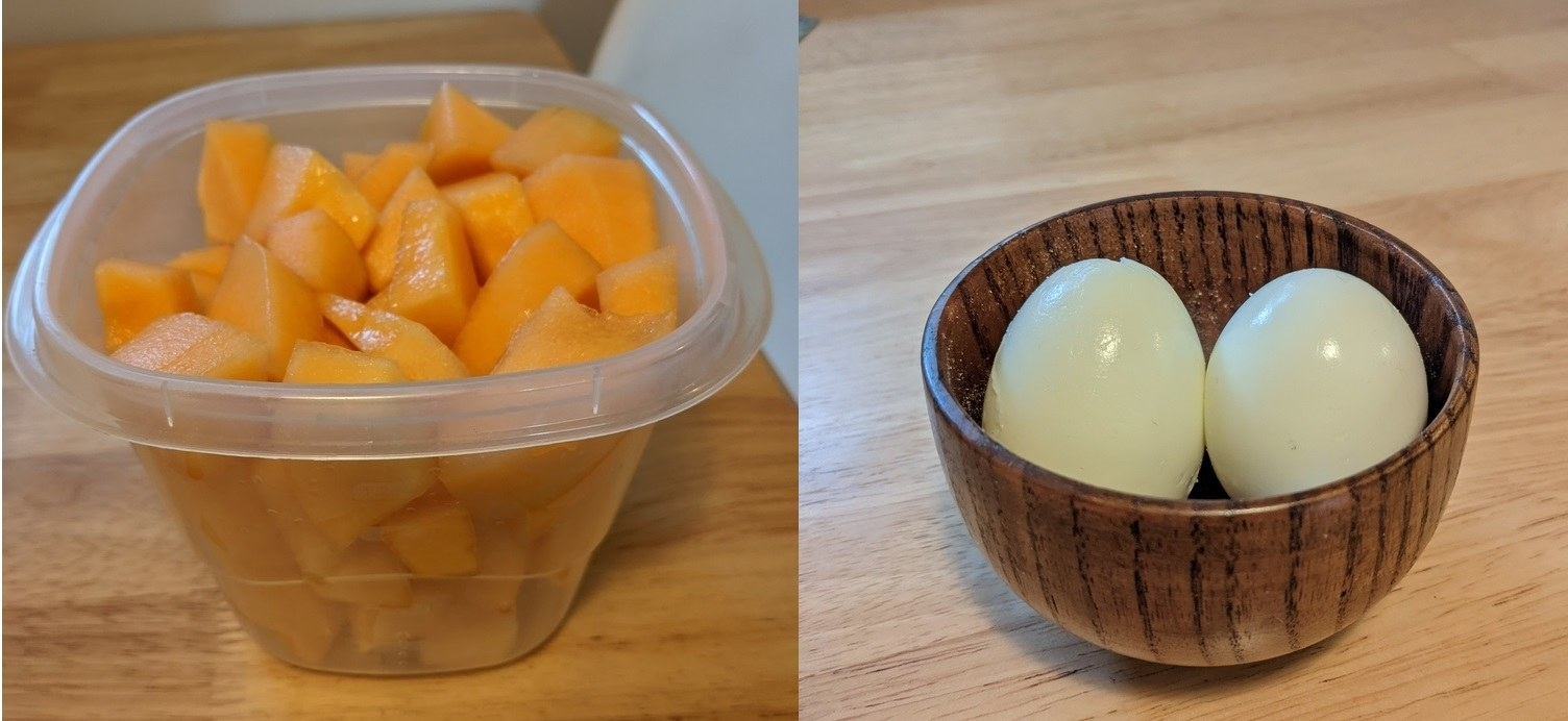 Container of cantaloupe next to a small dish of two hard-boiled eggs