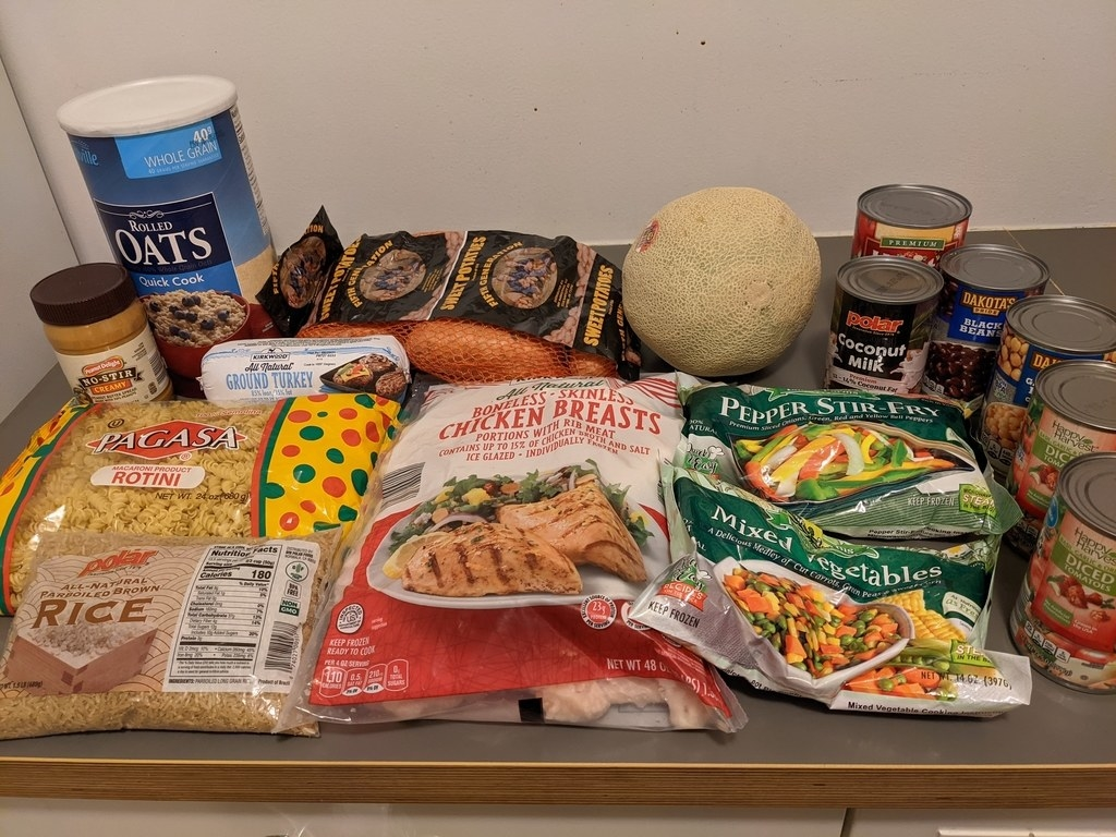 The week's grocery items all together on my counter