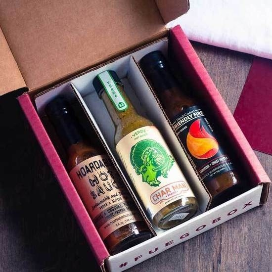 the fuego box with three hot sauces