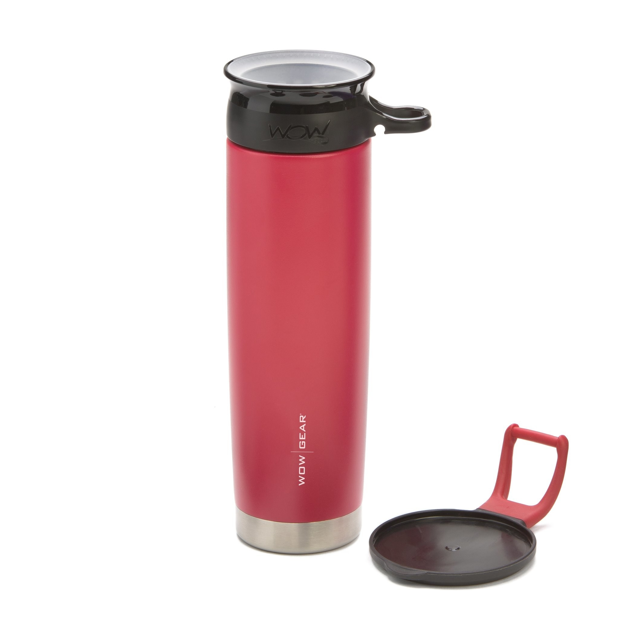 red wide mouth water bottle made from stainless steel