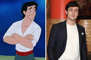 """A still of Prince Eric from """"The Little Mermaid"""" and a photo of Jonah Hauer-King"""