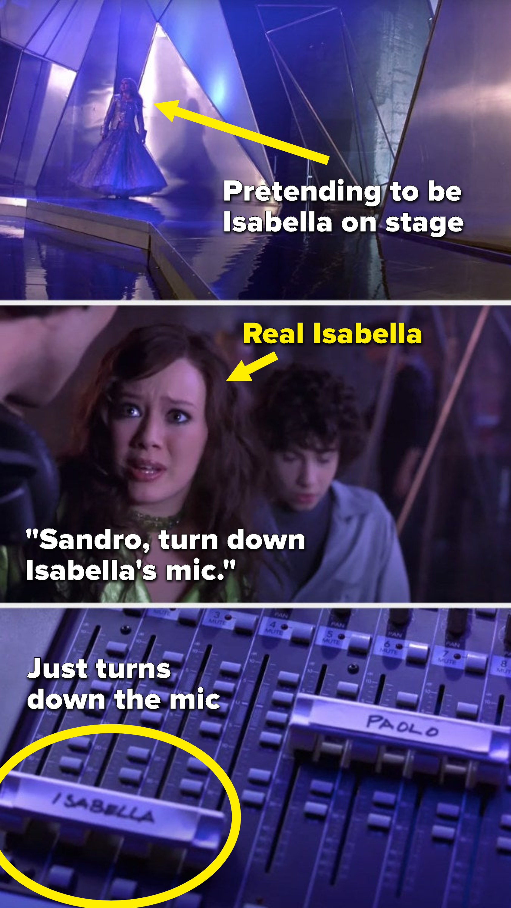 """Lizzie is on stage as Isabella, Isabella says to the sound guy, """"Sandro, turn down Isabella's mic,"""" and he just does it"""