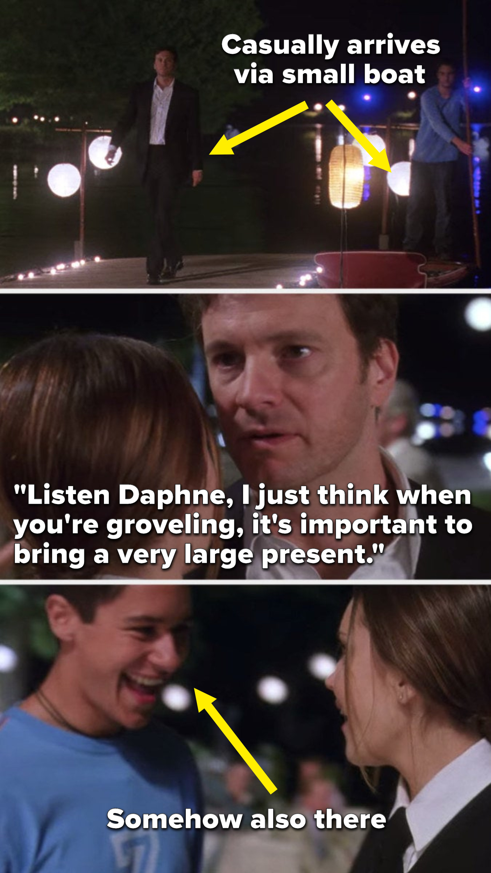 """Henry casually arrives via small boat and then says to Daphne while they dance, """"Listen Daphne, I just think when you're groveling, it's important to bring a very large present,"""" and Daphne's love interest is somehow behind her"""