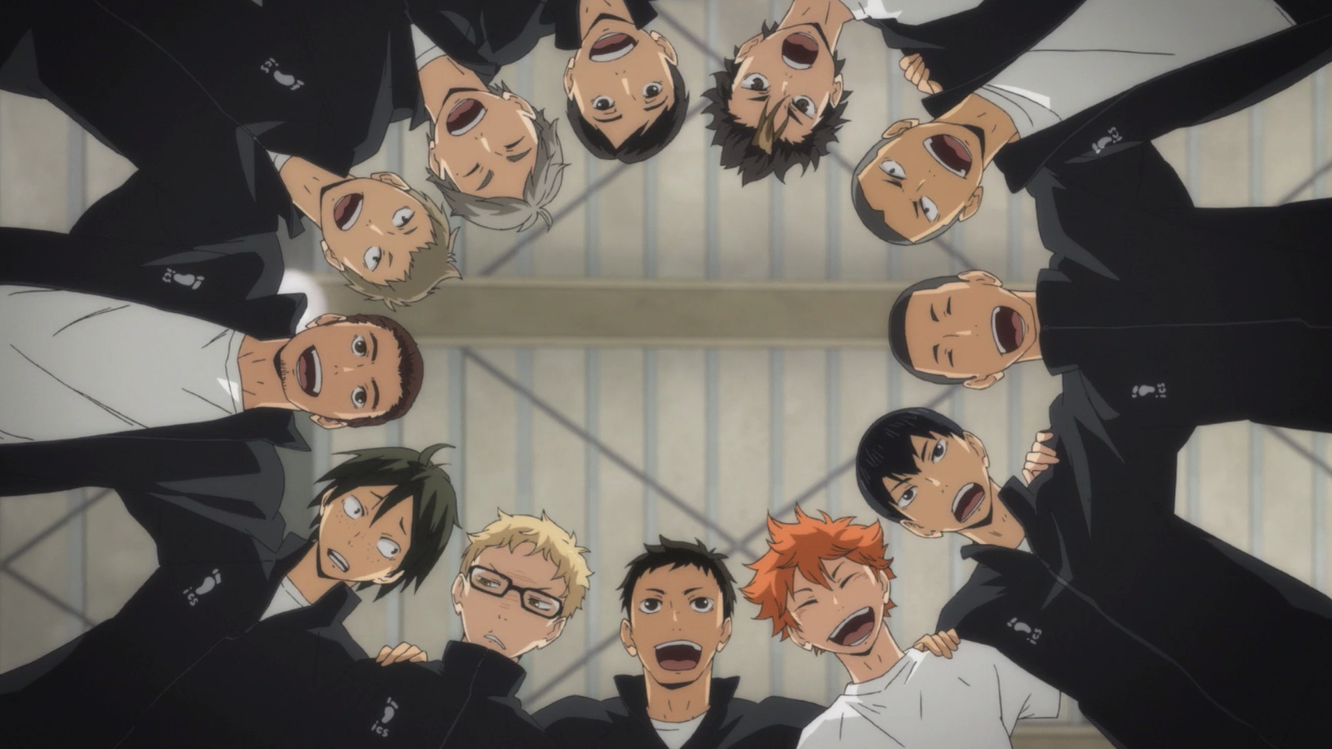 The members of Karasuno's high school volleyball club doing a team huddle