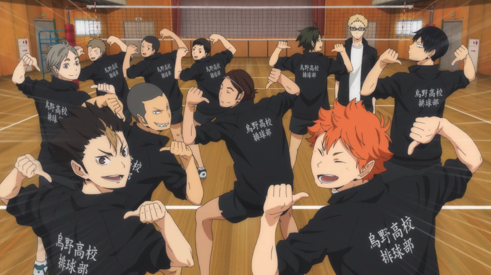 The members of Karauno's volleyball team showing off their matching jackets