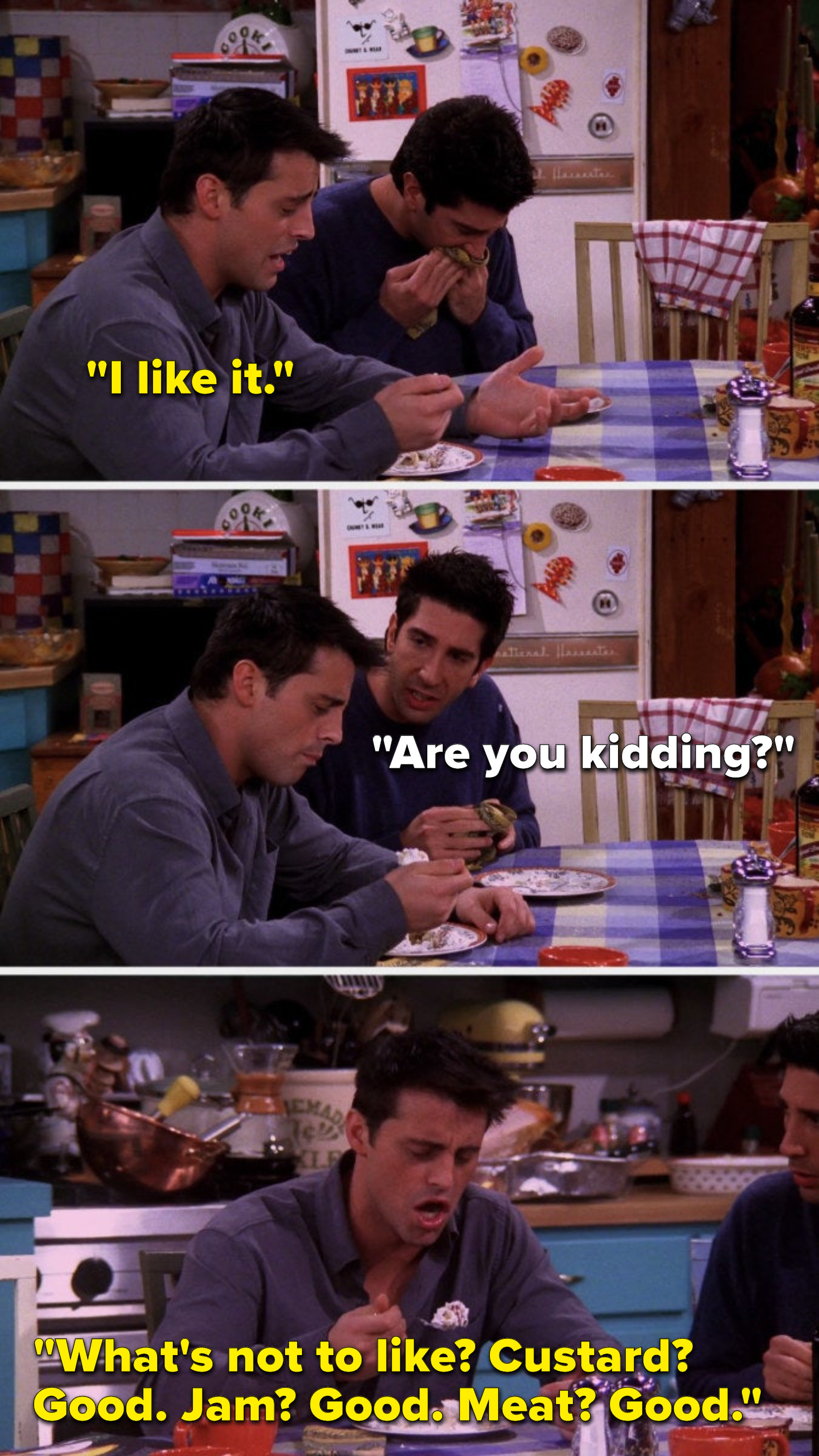 """Joey says, """"I like it,"""" Ross says, """"Are you kidding,"""" and Joey says, """"What's not to like, custard good, jam good meat good"""""""