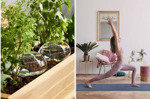 water orbs in a plant and person doing sun salutation on yoga mat
