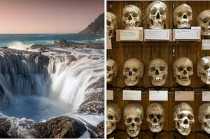 Giant hole in the ocean and shelves of skulls