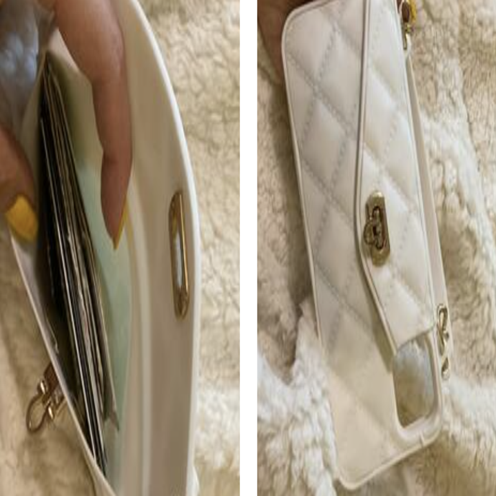Reviewer showing inside of iPhone purse