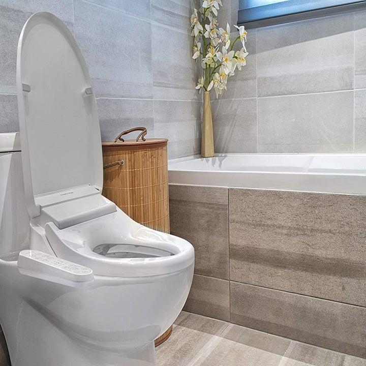 The bidet installed on a toilet