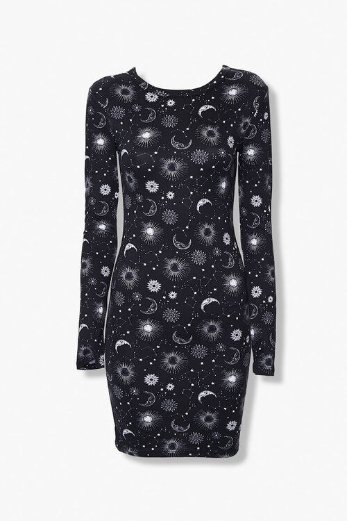 the black long sleeve dress with moons and stars on it
