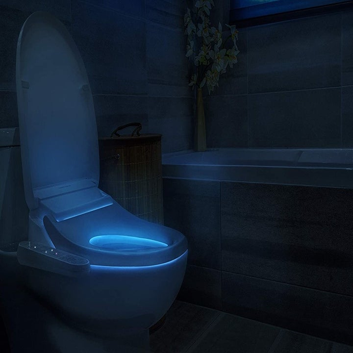 The nightlight feature glowing blue