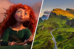 Merida sitting in a field on the left and the rolling green hills of scotland on the right