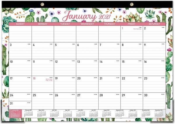 desk calendar with a succulent motif