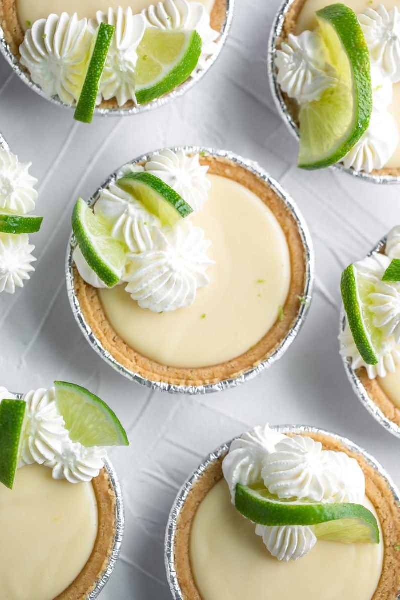 Mini key lime pies with whipped cream.