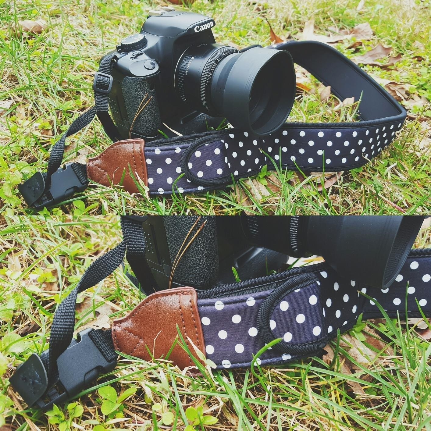 reviewer's polkadot camera strap on their canon camera