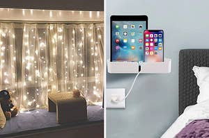 Twinkle lights in a bedroom and a bedside shelf for a tablet and phone
