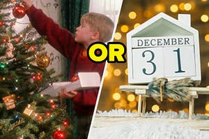 A boy is hanging up decorations on a tree with a December 31 calendar on the right