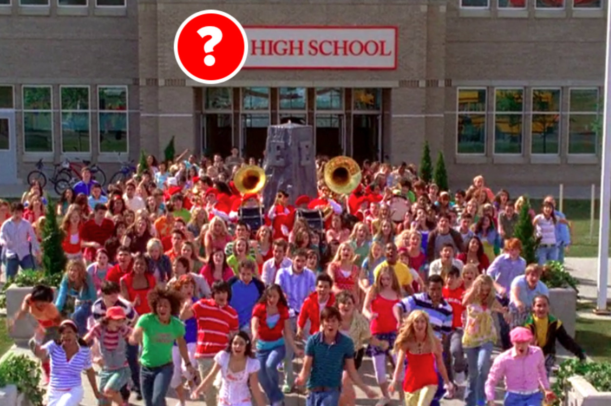 A scene from High School Musical with the school's name covered by a question mark