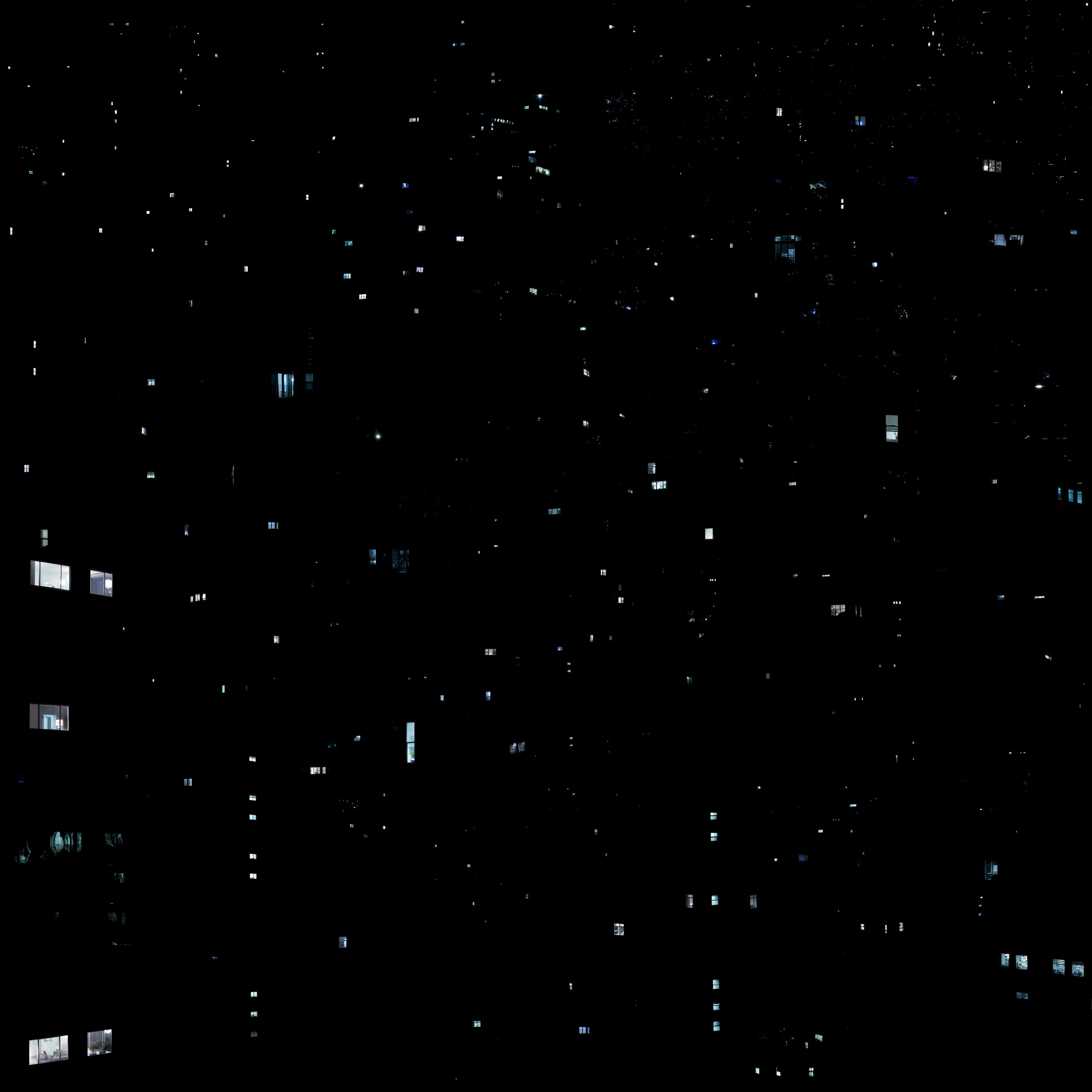 Windows from many apartment buildings that look like stars