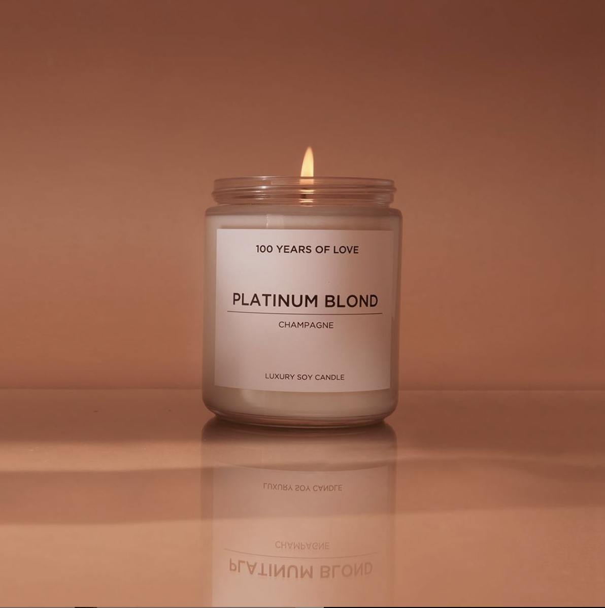 A Platinum Blond candle burning