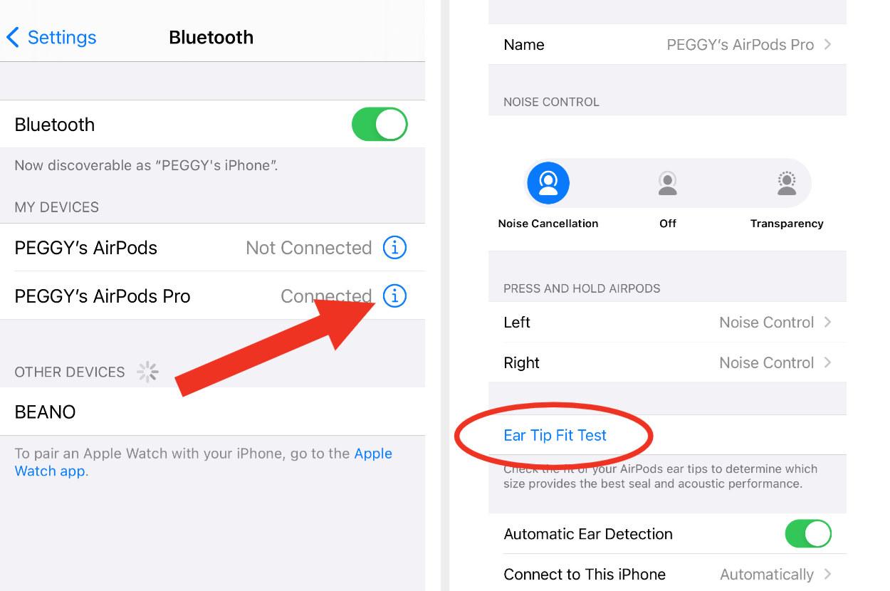 Screenshot of iPhone showing Settings > Bluetooth > AirPods Pro menu.