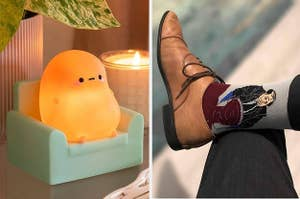 "On the left, a light shaped like a potato sitting on a couch. On the right, socks depicting Kevin from ""The Office"" spilling his chili"