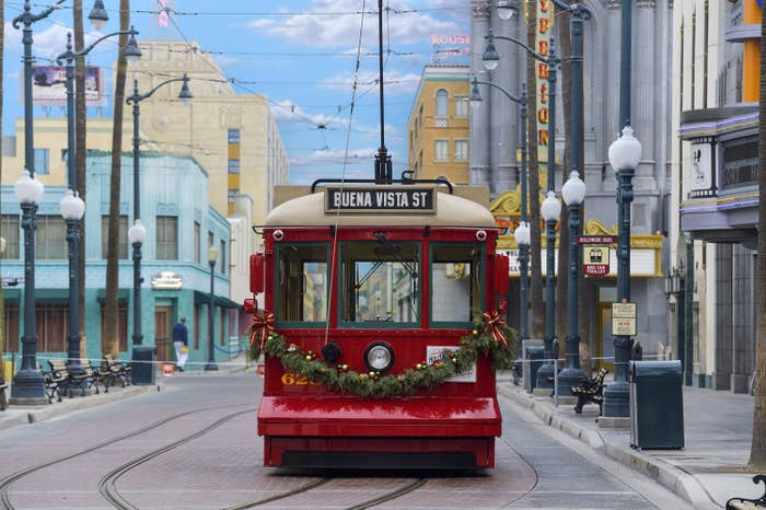 A red trolley at California Adventure