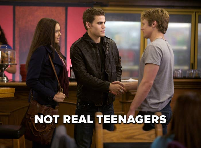 """Elena, Stefan, and Matt from The Vampire Diaries labeled """"Not real teenagers"""""""