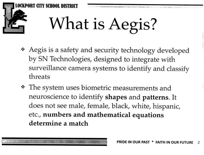 A slide claiming Aegis uses biometric measurements and neuroscience instead of seeing gender or race.