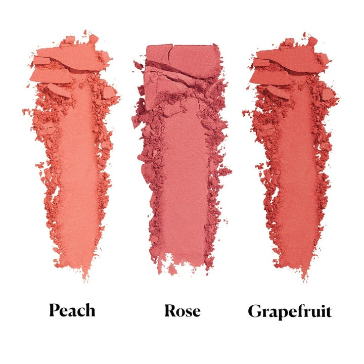 A closeup of each of the three blushes, which are all different shades of pink