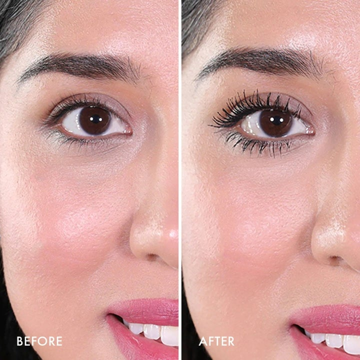 A split photo of a model before and after using the mascara