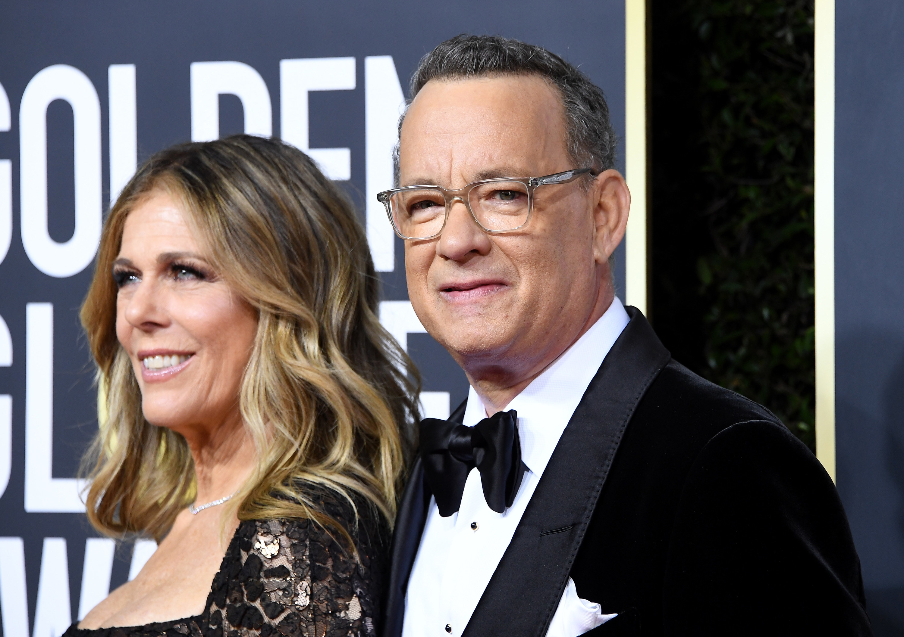 Rita Wilson and Tom Hanks arrives at the 77th Annual Golden Globe Awards attends the 77th Annual Golden Globe Awards at The Beverly Hilton Hotel on January 05, 2020 in Beverly Hills, California