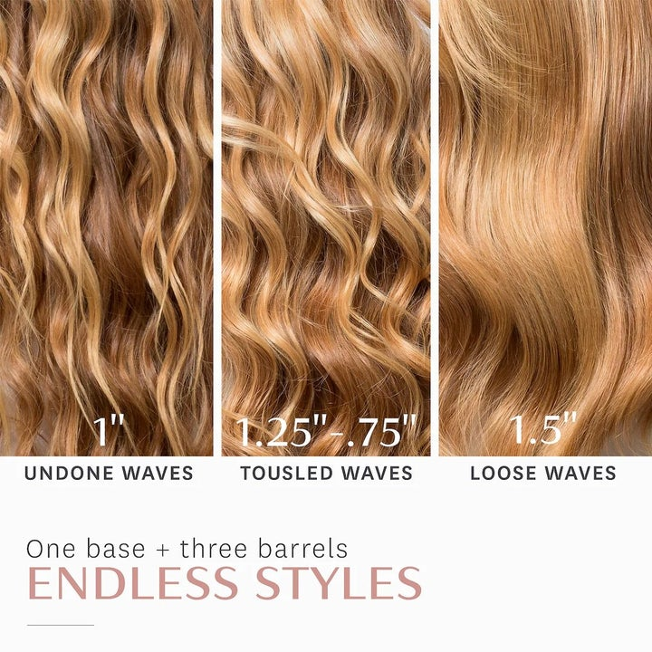 A three-way split photo showing what a model's hair looks like after using each of the three styling wands