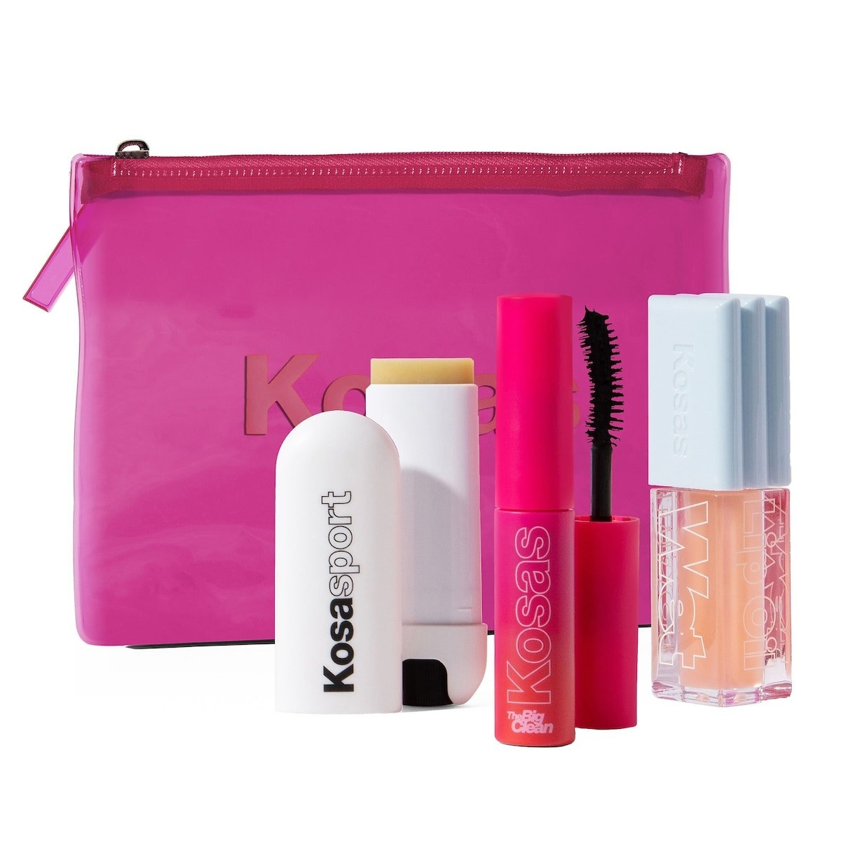 The Kosas set that comes with a little pink makeup bag