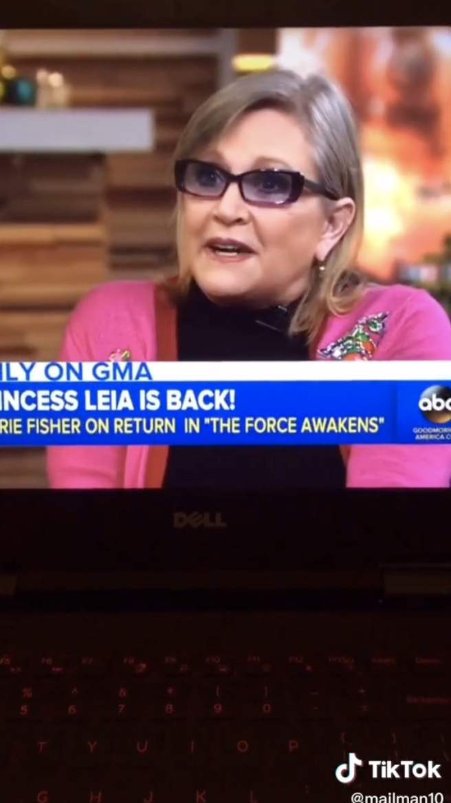 Screenshot of Carrie Fisher.