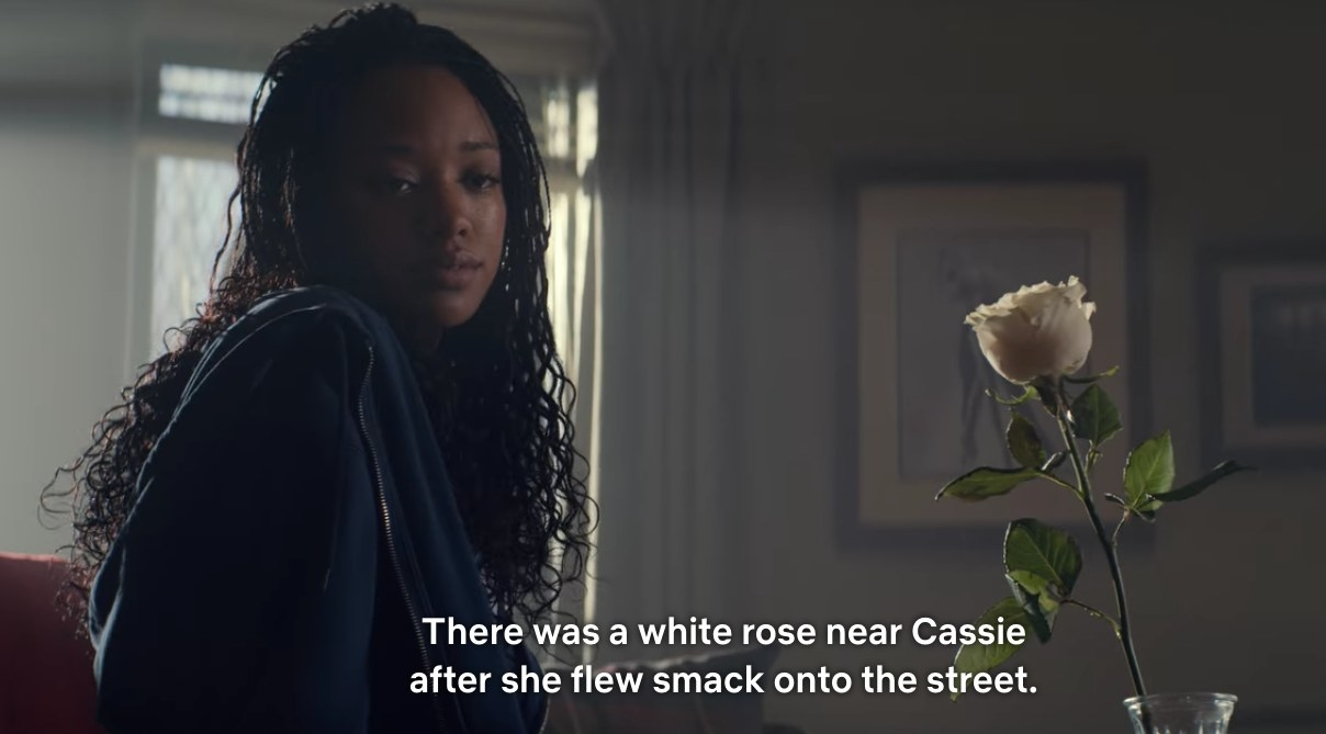 """Neveah with white rose. """"There was a white rose near cassie after she flew smack onto the street"""""""