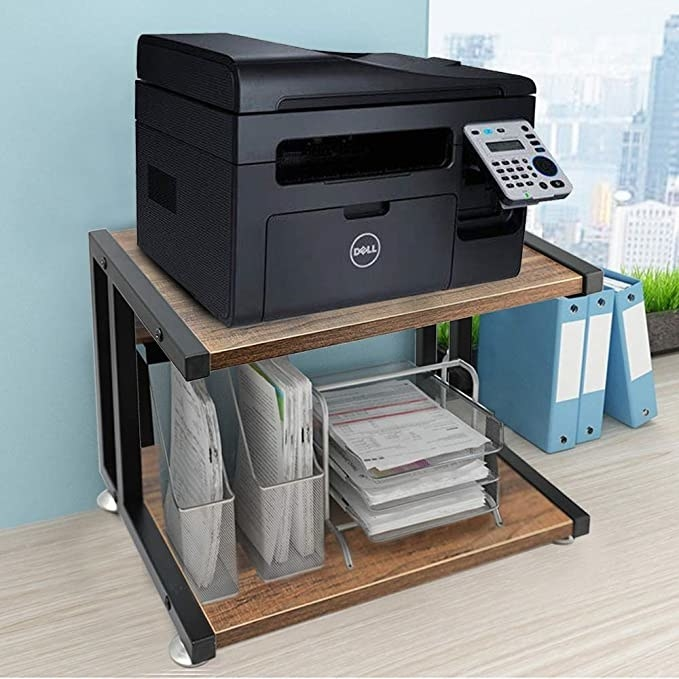 Wooden two-tier printer stand.