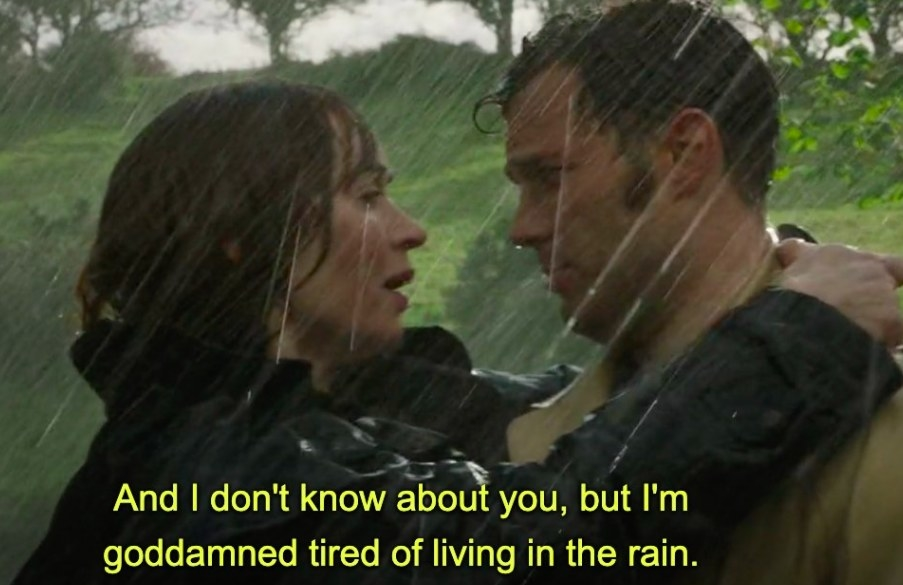 """Anthony carries Rosemary through the rain and says """"I'm goddamned tired of living in the rain""""."""