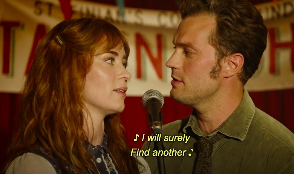"""Rosemary and Anthony look at each other as they sing into a microphone; the caption reads """"I will surely find another"""""""
