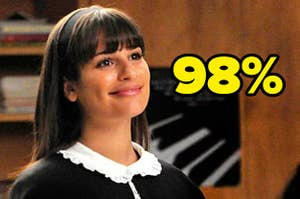 """Rachel Berry from Glee with the the text """"98%"""""""