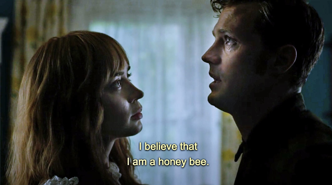 """Anthony telling Rosemary """"I believe that I am a honey bee"""" in Wild Mountain Thyme"""