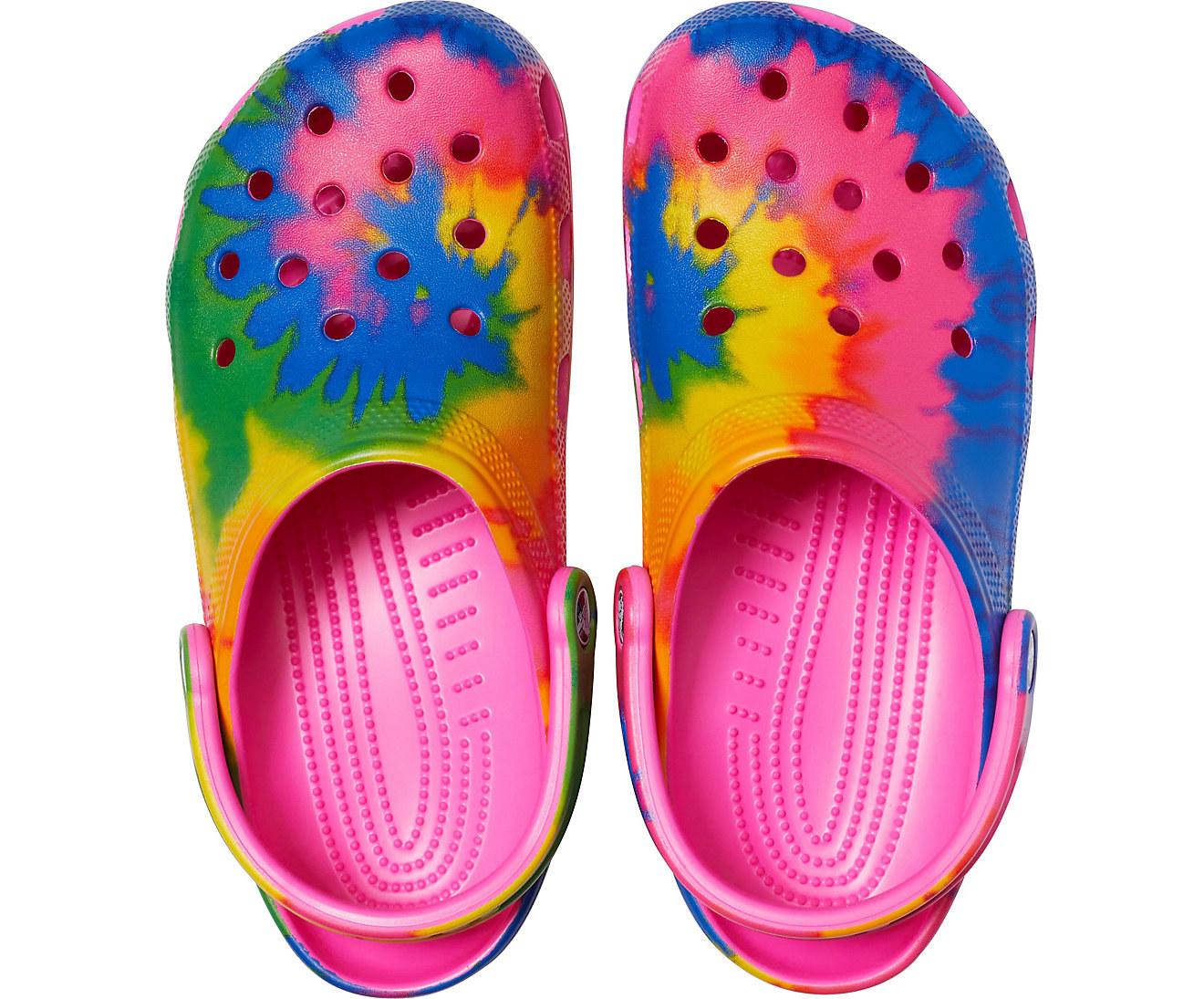 pair of tie-dye Crocs
