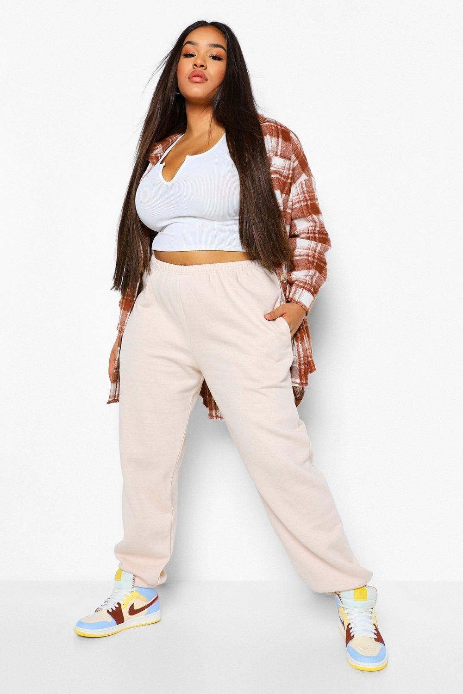 Model in the cream colored sweats