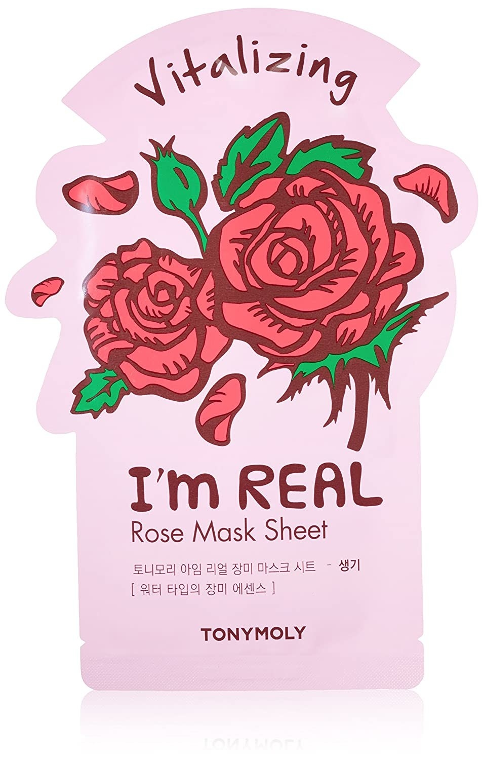A pink sheet mask case with roses on it